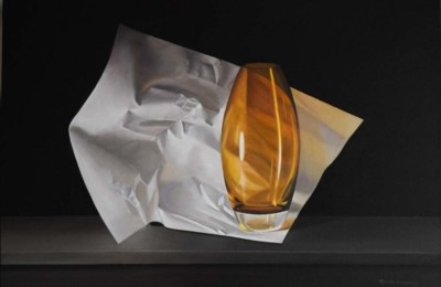 Marsha Strycharz, ON, Yellow Glass and Paper, 24x36