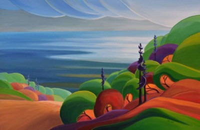Barbel Smith, Autumn HillsideII, Acrylic, 24x36