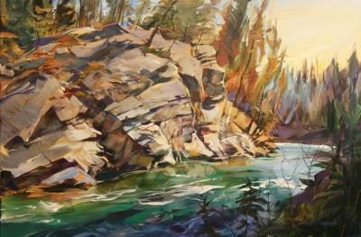 Brent Laycock, Cliffs at Canoe Meadows, Acrylic, 24x36