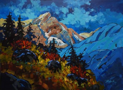 Brian Buckrell, Rocky Light and Shadow, Acrylic, 30x40