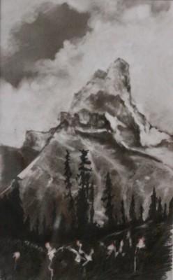 Chris Domanski, Rocky Mountain, Colored Pencil, 15x10
