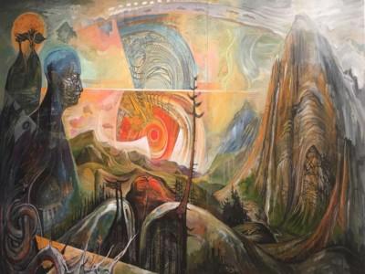 David Carlin, Earth Spirits Dancing, Acrylic, 48x84