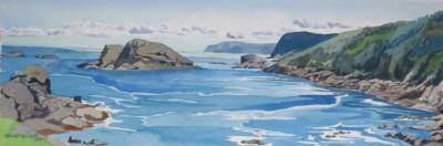 Diana Dabinett, Biscayne Cove, Watercolor,10x29