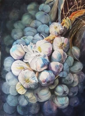 Doris Daigle, Sunkissed Garlic, WC, 30x22