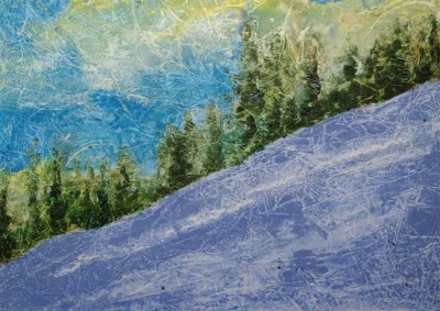 Elizabeth Malara-Wieczorek, Mountain Slope in Winter, Oil Monotype, 10x14