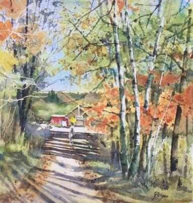 Ginette Parizeau, Falls Light, Watercolor, 10x10