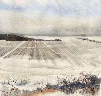 Ginette Parizeau, Snowy Fields, Watercolor, 10x10