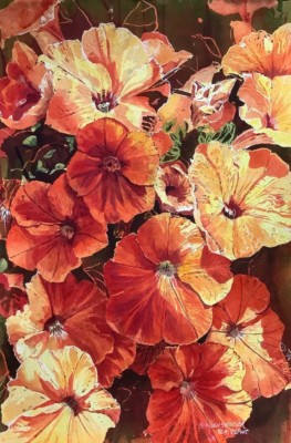Helen Shideler, Blazing Blossoms, Watercolor, 22x14.5