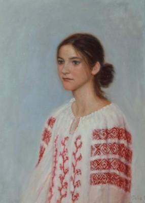 Iulia Stoian, Romanian Blouse, Oil, 24x16
