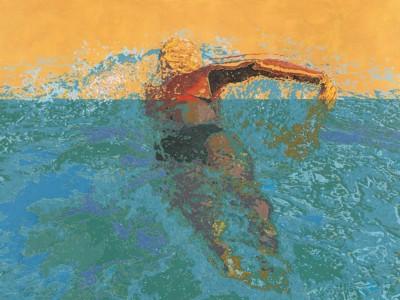 Karen Landrigan, Swimming, Acrylic, 36x48