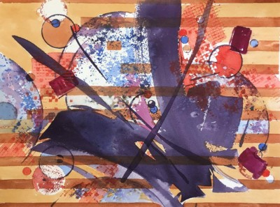 Karin Richter, Burst of Energy Series 3, Watercolor, 11x14