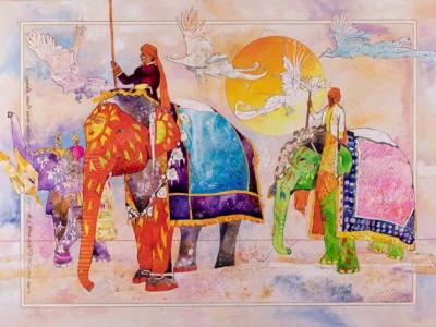 Manjit Singh Chatrik, Elephants, Mixed Media, 40X30