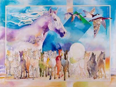 Manjit Singh Chatrik, Horses, Mixed Media, 40X30