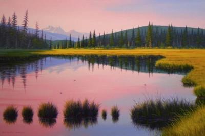 Marlene McPherson, Revelstoke Pond, Acrylic, 24x36
