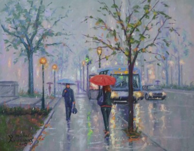 Michel Raymond, Le parapluie rouge, Pastel, 14x18
