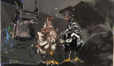 Narges Soleimanzadeh, Prestigious Hen, Acrylic, 18.5x31.5