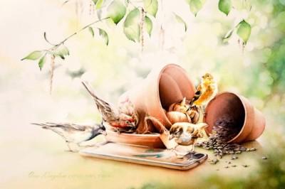 Ona Kingdon, Lets Tweet, Watercolor, 15x22