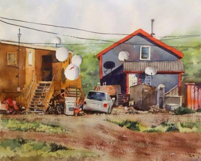 Rex Beanland, Satellite City Tuktoyaktuk, Watercolor, 16x20