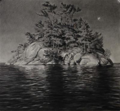 Robin Nyikos, Morning Sun, Waning Moon, Charcoal, 26x28