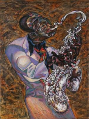 Roman Nogin, John Coltrane, Oil-45x33.5