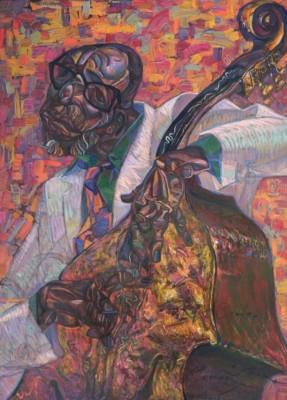 Roman Nogin, Ron Carter, Oil, 45x33.5