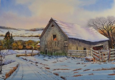 Roy Tibbits, Winter Barn, Watercolor, 15x22