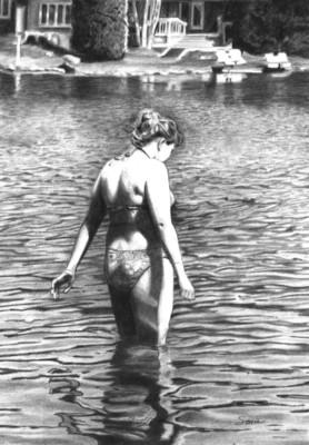 Sonia Isabelle, La belle du lac, Graphite, 11.5x8.25