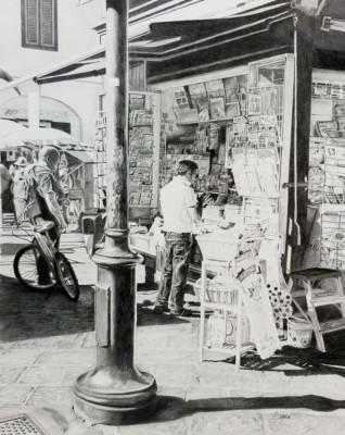 Sonia Isabelle, kiosque a journaux, graphite, 20x16