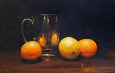 Sue Miller, Tarnished Mug and Fruit, Oil, 18x28