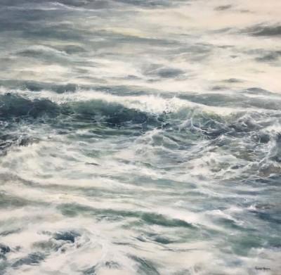 Valerie Harper, Spilling Waves, Acrylic, 31.5x31.5