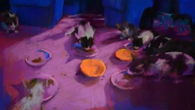 Yael Maimon, Birthday Party 3, Pastel, 19.5x34.5